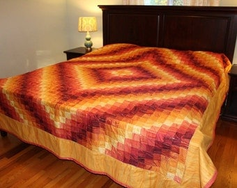 King Size Sandstone Oranges and Reds Around the World Quilt