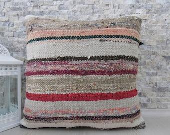striped kilim pillow multi colour pillow organic pillow 20x20 handmade pillow decorative pillow for couch tribal pillow boho pillow