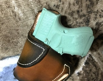 Glock 26/27 leather OWB left handed draw
