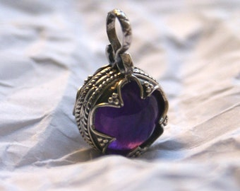 Ball pendant with amethyst Gotland 10-12 century Sterling silver 925 Norway Viking jewelry Vikings necklace