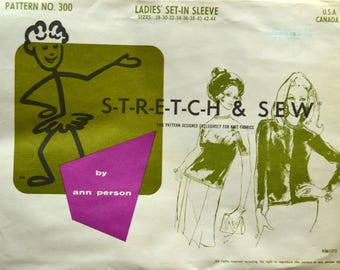 Uncut 1960s Stretch and Sew Vintage Sewing Pattern 300; Size 28-44; Ladies' Set-in Sleeve