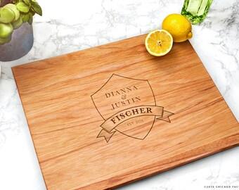 Custom Wedding Gift, Shield Cutting Board, Gift for Home, Engraved Cutting Board, Engraved Seagulls (GB038)