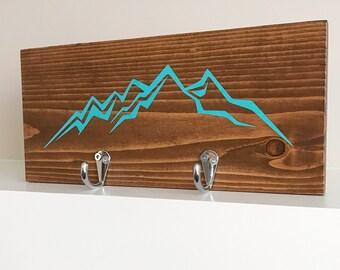 Customizable Mountain Key Holder Sign   Jacket Holder Hook Sign   Key Rack Sign   Leash Holder   Housewarming Gift   Key Holder Sign
