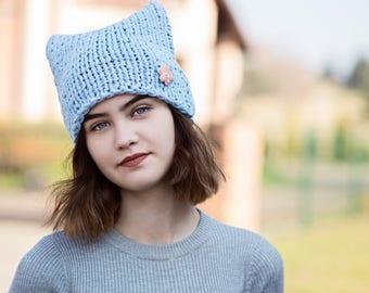 Blue Cat Hat ,COTTON Cat Hat,  Knit Hat, Knit Pussy Hat,  Summer Orginal Hat,   Uniwersal cat hat,  Power Cat Hat,  OOAK,   Ready to ship