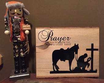 Praying Cowboy Plaque