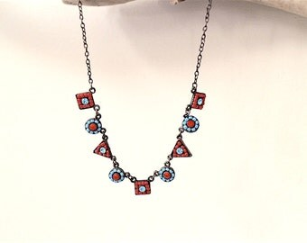 Geometry Necklace, Beaded Square and Circle Link, Statement Necklace, Vintage Jewelry