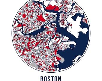 Boston Football - Community Color Map - Poster Print Wall Art- Neighborhood Fan