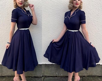 Campbell Crafts 1950'S full circle navy blue diner dress with pinktrim