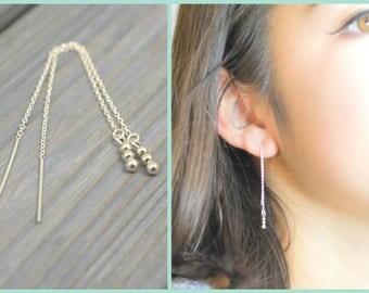 925 Silver threaders, Threader Earrings, Silver chain earrings, Pull-through earrings, Sphere dangles, Bead dangle earrings, Sterling silver