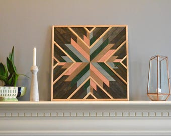 Wood wall art, brown/green/natural/copper/teal, burst, decor, panel, pine, cedar lath 24in x 24in
