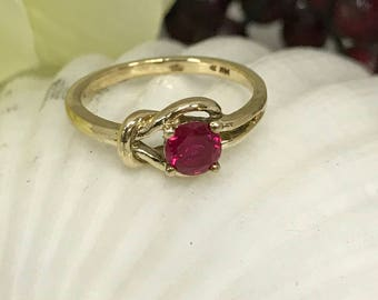 Ruby Love Knot Ring 14K Yellow Gold  #4327