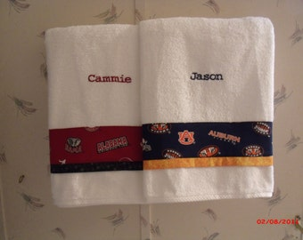 Alabama and Auburn University Towels for The Divided House, Personalized Auburn and Alabama Towels