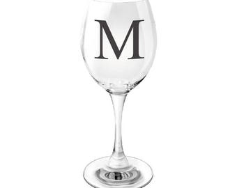 Black Monogram Wine Glass