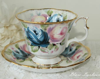 Royal Albert, England: Summer Bounty Series ''Sapphire'' tea cup & saucer