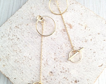 Gold Geo Earring,Gold Circle Earring,Circle Drop Earring,Circle Bar Earring,Bar Drop Earring,Circle Drop Ear Hugger,Double Circle Ear Jacket