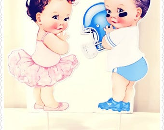 Baby Boy or Girl--Football or Tutu Stand-Up Baby Shower Centerpieces--Party Baby Shower Decorations--Any Theme Any Color