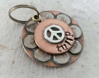 Pet id tag with peace sign -  dog tag for dog collar - dog tag - pet tag -  pet accessories -  vintage style pet id tag