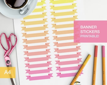 shade banner stickers - A4 - printable, print at home, digital prints - erin condren - bullet journal - pink yellow sunset sunrise