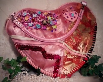 Vintage Heart-Shaped Large Boho-look Peach Patchwork Purse Embellished With Beads, Charms,  and Sequins - Gypsy Bag - Hippy Bag