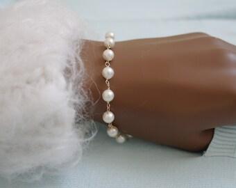 Quartz rock crystal Akoya pearl bracelet gold plated quartz Akoya pearls bracelet