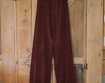 Vintage 1970's high waisted burgandy velvet flares