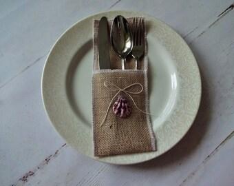 Beach Wedding Utensil Holder, Burlap Flatware Sleeves, Nautical Wedding Table Decor, Beach Wedding Flatware Pockets, Cutlery Pocket Seashell