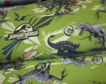 Jerassic park with green background, cotton fabric cotton fabrics park Jerassic sold in half yard