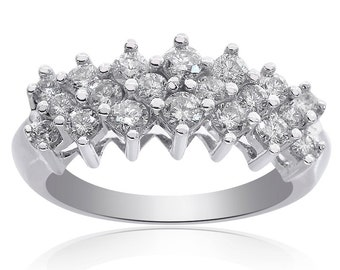 0.75 Carat Round Cut Prong Setting Diamond Cluster Pyramid Ring 14K White Gold
