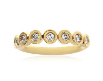Authentic 1/2 Carat Round Cut Diamond Movado Womens Wedding Ring 18K Yellow Gold