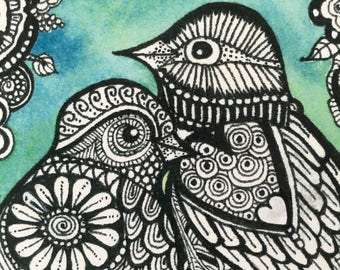 Zentangle Love Birds