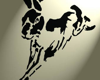 Shabby Chic Stencil Artistic style leaping Hare Rabbit Rustic A4 297x210mm wall