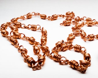 "Double Quad Wrapped Copper Chain (18g), 30"" in length"