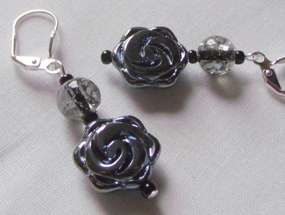 Rose goth earrings - metallic flower - etched glass jewelry - gray round floral design - romance -  shimmer earrings -red teardrop - unique