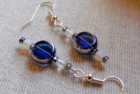 Silver deep blue glass coin bead earrings, light weight short design , opalite glass beads, simplicity , teen girl gift, denim wear
