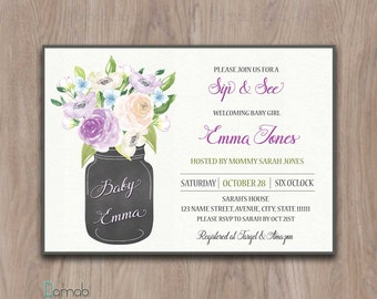 Sip and See invitation, sip and see invitation girl, meet the baby invitation, sip n see invitations, sip and see invite mason jar flowers