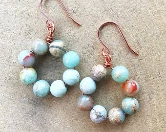 Impression Jasper Earrings, Healing Crystal Jewelry, Blue Gemstone Beads, Copper Jewelry, Bohemian, Gifts For Her, Bridesmaid Gift, Handmade