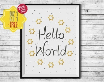 Hello world, nursery wall art, baby poster, baby wall decor, birth announcement wall art, newborn baby gift, baby prints, printable quotes