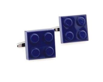 Lego Cufflinks - Blue-B30  - Free Gift Box