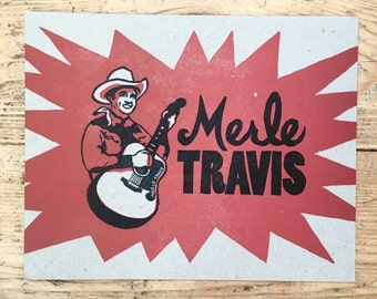 Merle Travis letterpress print