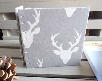 Deer Journal - Woodland Animal Baby Book - Woodland Creature Fabric Journal - Deer Book - Writing Journal - Small Notebook - Rustic Journal