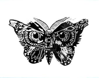 Butterfly. Eye butterfly. Black / / linocut / / print. Handmade