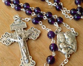 Amethyst Rosary. Handmade Catholic Rosary Beads. Prayer Beads.