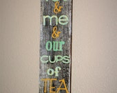 You Me & Our Cups of Tea Mug Holder Wooden Wall Art Home Decor