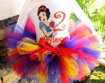 Snow White Tutu Set, Red Blue Yellow Tutu, Snow White Birthday, Girl Birthday, Toddler Birthday