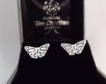 Butterfly Stud Earrings, Sterling Silver