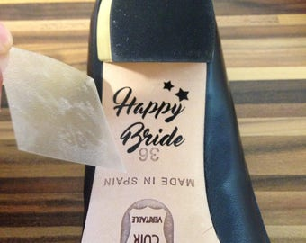 """Bridal Shoes stickers: """"HAPPY BRIDE"""" non customized for shoes (shoes, stickers, gift, pumps, where wedding)"""
