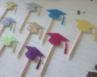 12 Graduation Cupcake Toppers, Glitter Cake Toppers Graduation Party, Garduation Hat Toppers, Graduation Cake Toppers, 2017 Graduation