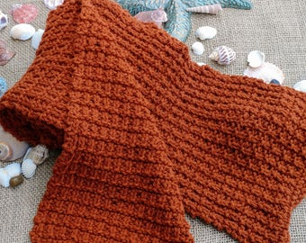 Handmade Hand Knit Textured Thermal Cotton Acrylic Blend Red Brown Rust Scarf