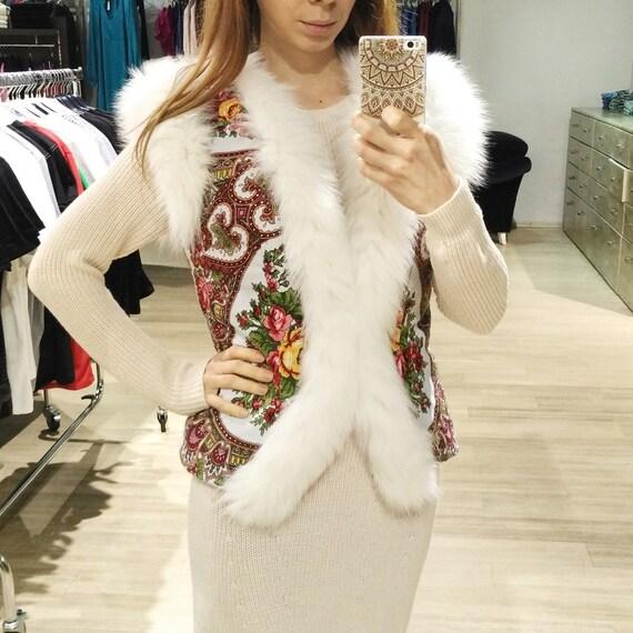 White waist vest made of babushka shawl and real arctic fox fur
