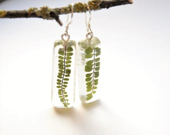 Fabulous fern earrings with eco resin, handpicked and made in Ireland, botanical jewelry, unique earrings